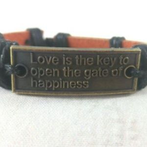 Jewelry - Unisex Leather Bracelet W/ Love Quote Charm